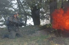 German soldier with flame-thrower Royalty Free Stock Photos