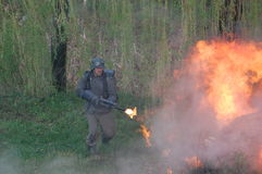 German soldier with flame-thrower Stock Photography