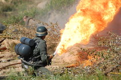 German soldier with flame-thrower Royalty Free Stock Images