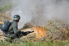 German soldier with flame-thrower Stock Photos