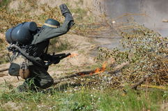German soldier with flame-thrower Royalty Free Stock Photo