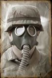 German soldier in gas mask. Stock Photo