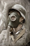 German soldier in gas mask. Royalty Free Stock Photography