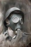 German soldier in gas mask. German soldier . WW2 reenacting . Military history club Red Star, Kiev Royalty Free Stock Image