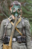 German soldier in gas mask royalty free stock images