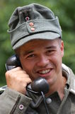 German soldier with phone. Stock Photography