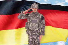 German Soldier. Portrait Of German Soldier Saluting In Front Of Flag Stock Photo