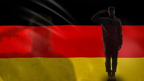 German soldier silhouette saluting against national flag, memorial day, defense. Stock footage stock video