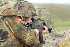 German soldier targeting from covered position Royalty Free Stock Images