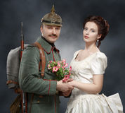 German soldiers of the First World War, with his lady Royalty Free Stock Images