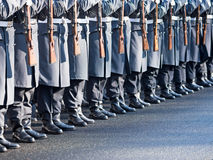 German soldiers of the guard regiment. Parading royalty free stock image