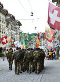 German soldiers marching in Bern. Stock Photos