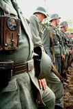 German soldiers. the reconstruction of the battle in military uniform of world war II. Stock Photography