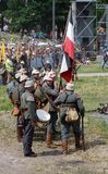 German soldiers-reenactors group. Osovets battle reenactment Stock Images