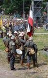 German soldiers-reenactors group. Osovets battle reenactment Stock Images