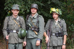 German soldiers of WW2. Members of a history club wears a historical German uniforms as they participates in a WWII reenactment.Defense Kiev from German troops Royalty Free Stock Images