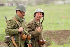 German soldiers of WW2 going in the field Royalty Free Stock Photos