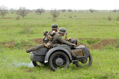 German soldiers of WW2 at motorbile Royalty Free Stock Image