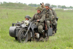 German soldiers of WW2 at motorbile Stock Image