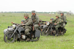 German soldiers of WW2 at motorbile Royalty Free Stock Photography
