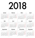 German Solid Calendar grid 2018 MF Royalty Free Stock Photography