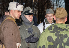 German and Soviet military personnel of WW2. Historical reconstruction.Vitebsk,Belarus,december2013 Stock Images