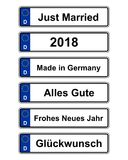 German specific vehicle registration plate on white. Detailed and accurate illustration of german specific vehicle registration plate on white Stock Image