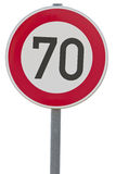 German speed limit sign - 70 km/h Stock Photography