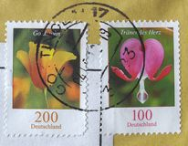 German stamp with flowers Stock Photo