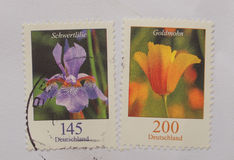 German stamps over envelope Stock Images