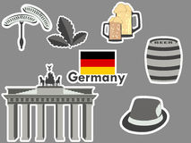 German stickers, germany symbols, the Brandenburg Gate, beer, oak leaves, Bavarian sausages. Patches elements Germany. Stock Images