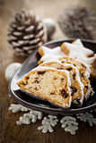 German stollen cake with raisins Royalty Free Stock Image
