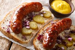 German street food sandwiches with grilled sausages, pickled cucumbers, onions and mustard close-up. horizontal stock image