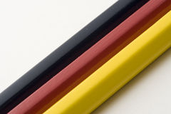 German Stripes. German flag with colored pencils royalty free stock photography