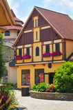 German-style architecture. FRANKENMUTH, MI, USA - JUNE 28, 2014: German-style architecture forms the backdrop of River Place, a recently established collection Stock Photo
