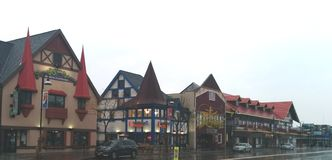 German-style buildings in downtown Wisconsin Dells stock image