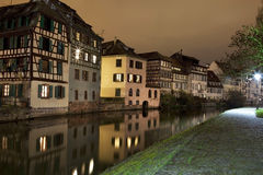 German-style houses in Strasbourg. German-style houses close to canal in Strasbourg, Alsace, France Stock Image