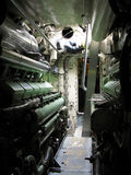German Submarine. German war Submarine engine room Royalty Free Stock Images