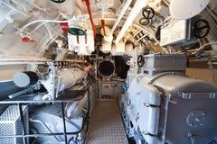 German submarine - aft torpedo room. German world war 2 submarine - aft torpedo room - ultra wide angle photo Stock Images