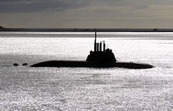 German submarine on the surface Royalty Free Stock Images