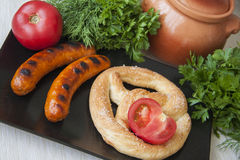 German supper with sausages Royalty Free Stock Photos