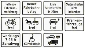 German supplementary road sign - Road markings missing Royalty Free Stock Image