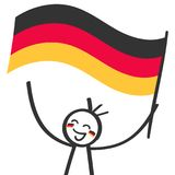 German supporter, sports fan, happy stick figure waving german flags. Isolated on white background Stock Photos