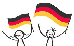 German supporters, sports fans, happy stick figures, man and woman waving german national flags. Isolated on white background Royalty Free Stock Photo