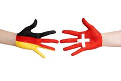 German and swiss hands Royalty Free Stock Images