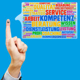 German tag cloud for competence and advice Stock Photos