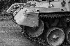 German tank closeup background in black and white Stock Photo