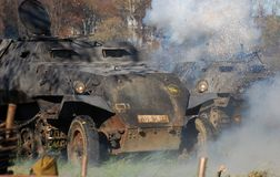 German tank in fume. Moscow battle historical reenactment Royalty Free Stock Photography