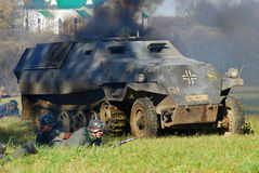 German tank in fume. Moscow battle historical reenactment Royalty Free Stock Images