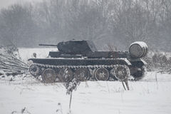 German tank PzKpfw II Ausf D in the snowy forest before the attack on the position of the Soviet Army. Military-historical reconst Royalty Free Stock Photos